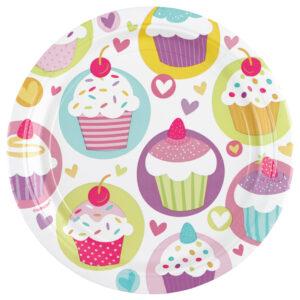 Pappteller Cupcake 23cm 8Stk