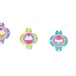 Trinkhalme Cupcake 8Stk
