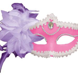 Maske mit Federn am Stab pink-rosa