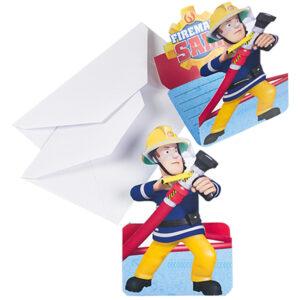 Einladungskarten Feuerwehrmann Sam 8Stk