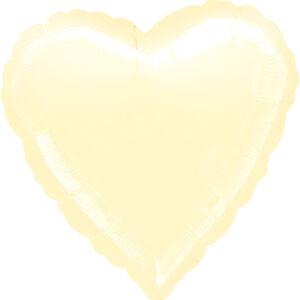 Folienballon Herz cremeweiß 45cm/ 18 Inch