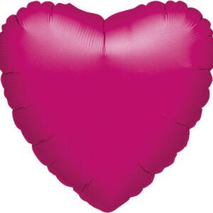 Folienballon Herz fuchsia 45cm/ 18 Inch