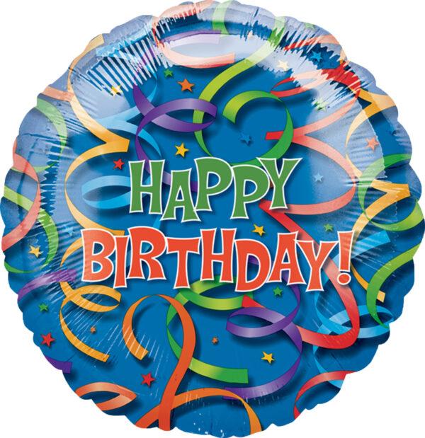 Folienballon Happy Birthday Luftschlangen rund 81cm/ 32 Inch
