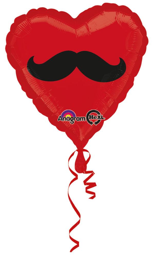 Folienballon Herz mit Schnurrbart rot 45cm/ 18 Inch