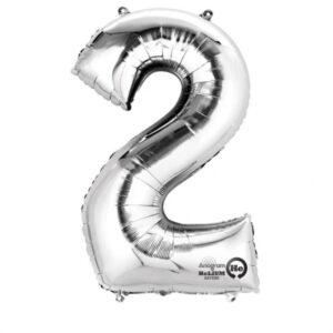 Folienballon Nummer 2 silber 81cm