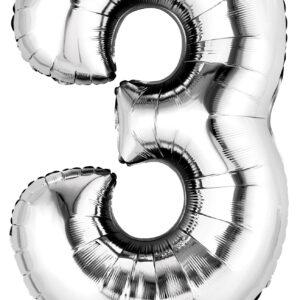 Folienballon Nummer 3 silber 81cm