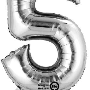 Folienballon Nummer 5 silber 81cm
