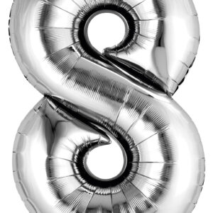 Folienballon Nummer 8 silber 81cm