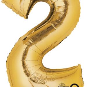 Folienballon Nummer 2 gold 81cm/ 32 Inch