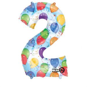 Folienballon Nummer 2 Ballons & Luftschlangen