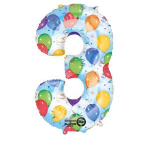 Folienballon Nummer 3 Ballons & Luftschlangen