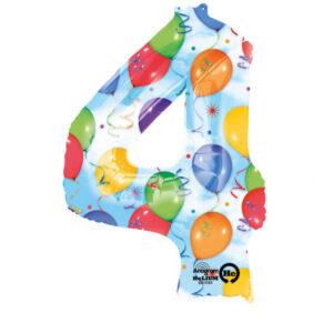 Folienballon Nummer 4 Ballons und Luftschlangen