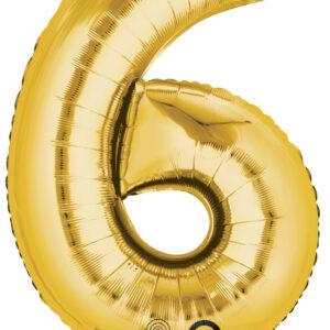 Folienballon Nummer 6 gold 81cm