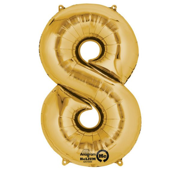 Folienballon Nummer 8 gold 81cm