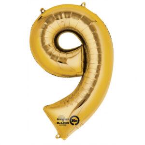 Folienballon Nummer 9 gold 81cm