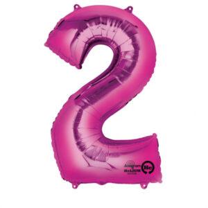 Folienballon Nummer 2 pink 81cm