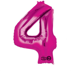 Folienballon Nummer 4 pink 81cm