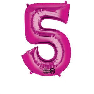 Folienballon Nummer 5 pink 81cm