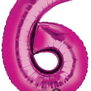 Folienballon Nummer 6 pink 81cm