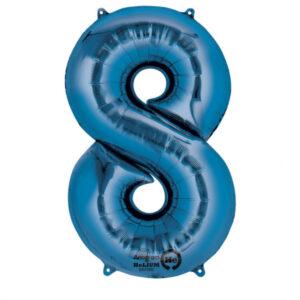 Folienballon Nummer 8 blau 81cm
