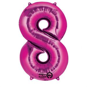 Folienballon Nummer 8 pink 81cm