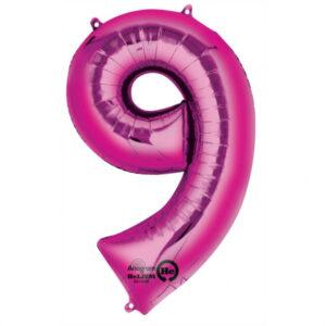 Folienballon Nummer 9 pink 81cm
