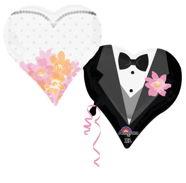 Folienballon Brautpaar Doppelherz
