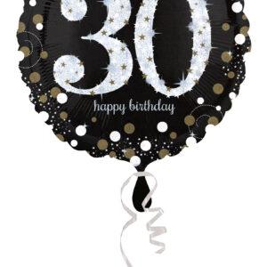 Folienballon holografisch 30 schwarz 45cm/ 18 Inch