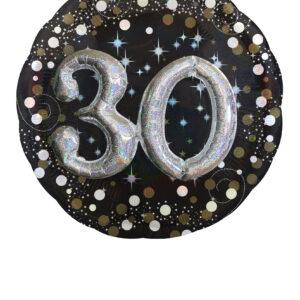 Folienballon 30. Geburtstag glitzer 81x 81cm/ 32 Inch