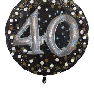Folienballon 40. Geburtstag glitzer 81x 81cm/ 32 Inch