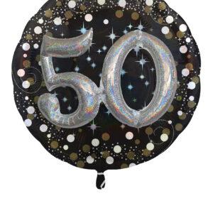 Folienballon 50. Geburtstag glitzer 81x 81cm/ 32 Inch