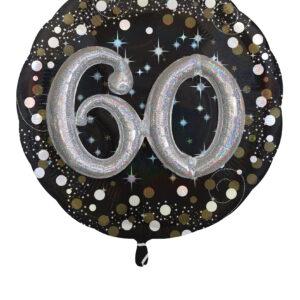 Folienballon 60. Geburtstag glitzer 81x 81cm/ 32 Inch