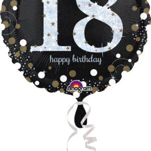 Folienballon holografisch 18 schwarz 45cm/ 18 Inch