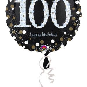 Folienballon holografisch 100 schwarz 45cm/ 18 Inch