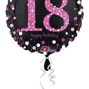 Folienballon18 schwarz-pink 45cm/ 18 Inch