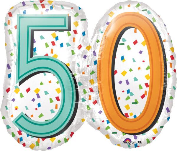 Folienballon 50 Konfetti