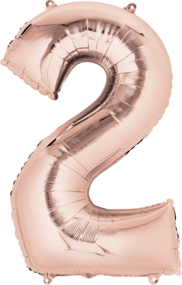 Folienballon Nummer 2 rose-gold 81cm