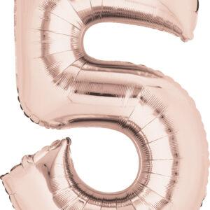 Folienballon Nummer 5 rose-gold 81cm