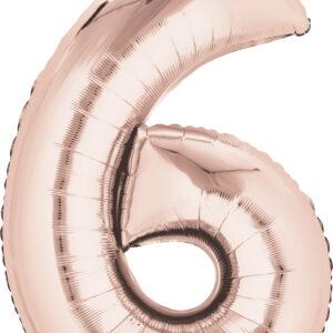 Folienballon Nummer 6 rose-gold 81cm