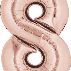 Folienballon Nummer 8 rose-gold 81cm