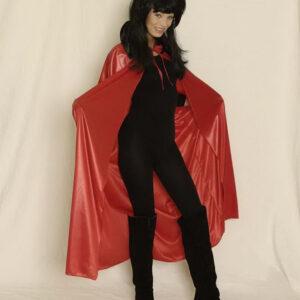 Umhang, rot, 136 cm Stehkragen schwarz