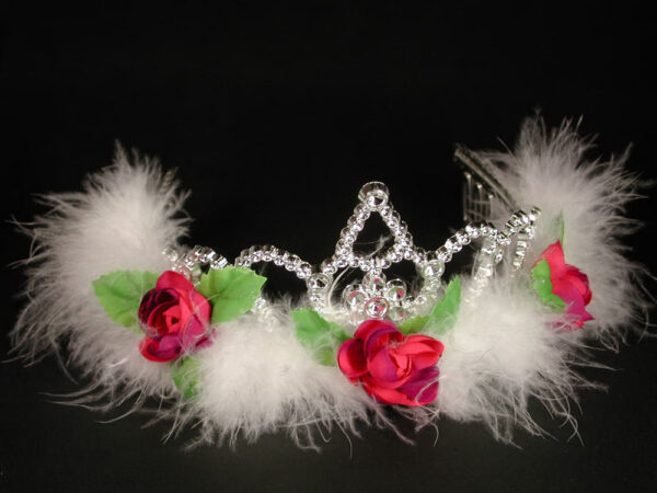 Diadem, mit Marabu + Rosen