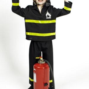 Kinderkostüm Feuerwehrmann schwarz 2teilig Gr. 98/102