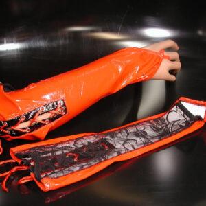 Fingerlose Lackhandschuhe, rot/schwarz