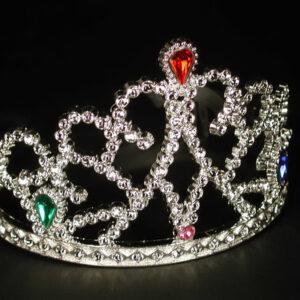Diadem Prinzessin mit Juwelen, silbern