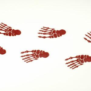 Fußabdrücke Skelett rot 6Stk