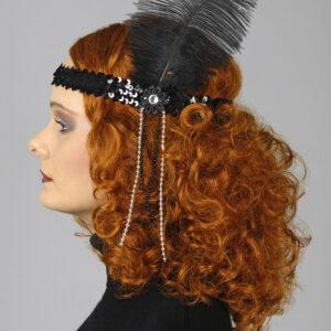 Haarband Pailletten schwarz mit Feder
