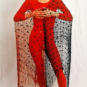 Netz Dreieckstuch, schwarz/ rot, Gr. 250 x 100 x 100 cm