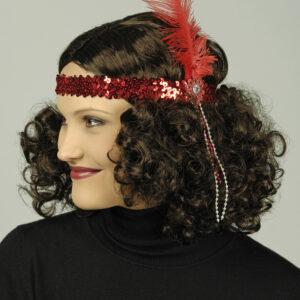 Haarband Pailletten rot mit Feder