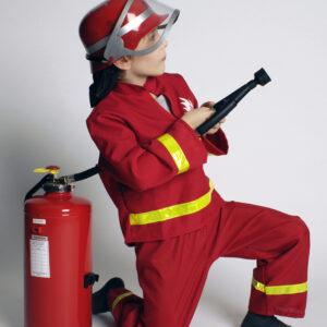 Kinderkostüm Feuerwehrmann rot Jacke und Hose Gr. 140-152